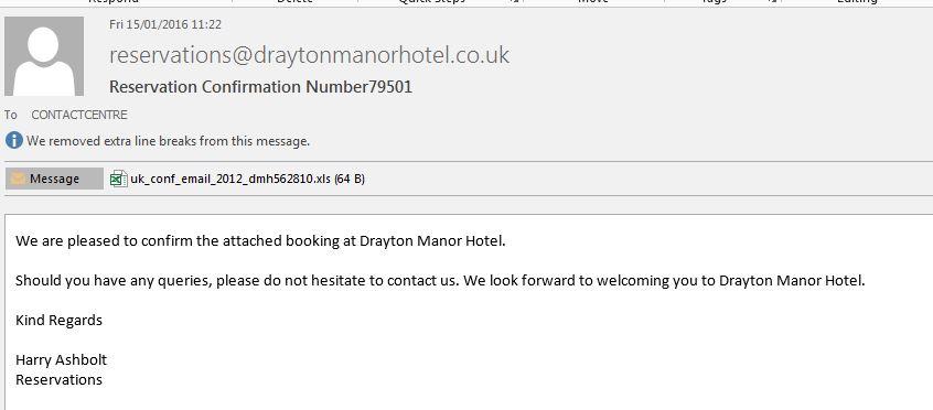 Drayton Manor Hotel Reservation 79501 - EMail Virus Spam