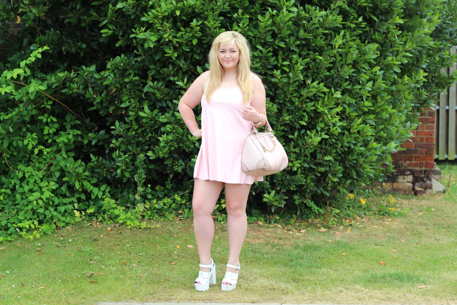 Boohoo pink faux leather swing dress river island white cleated sole platforms pink bag gold chain