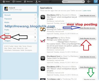 Cara stop aplikasi autopost twitter