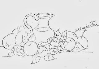 desenho de jarra com frutas e rosas