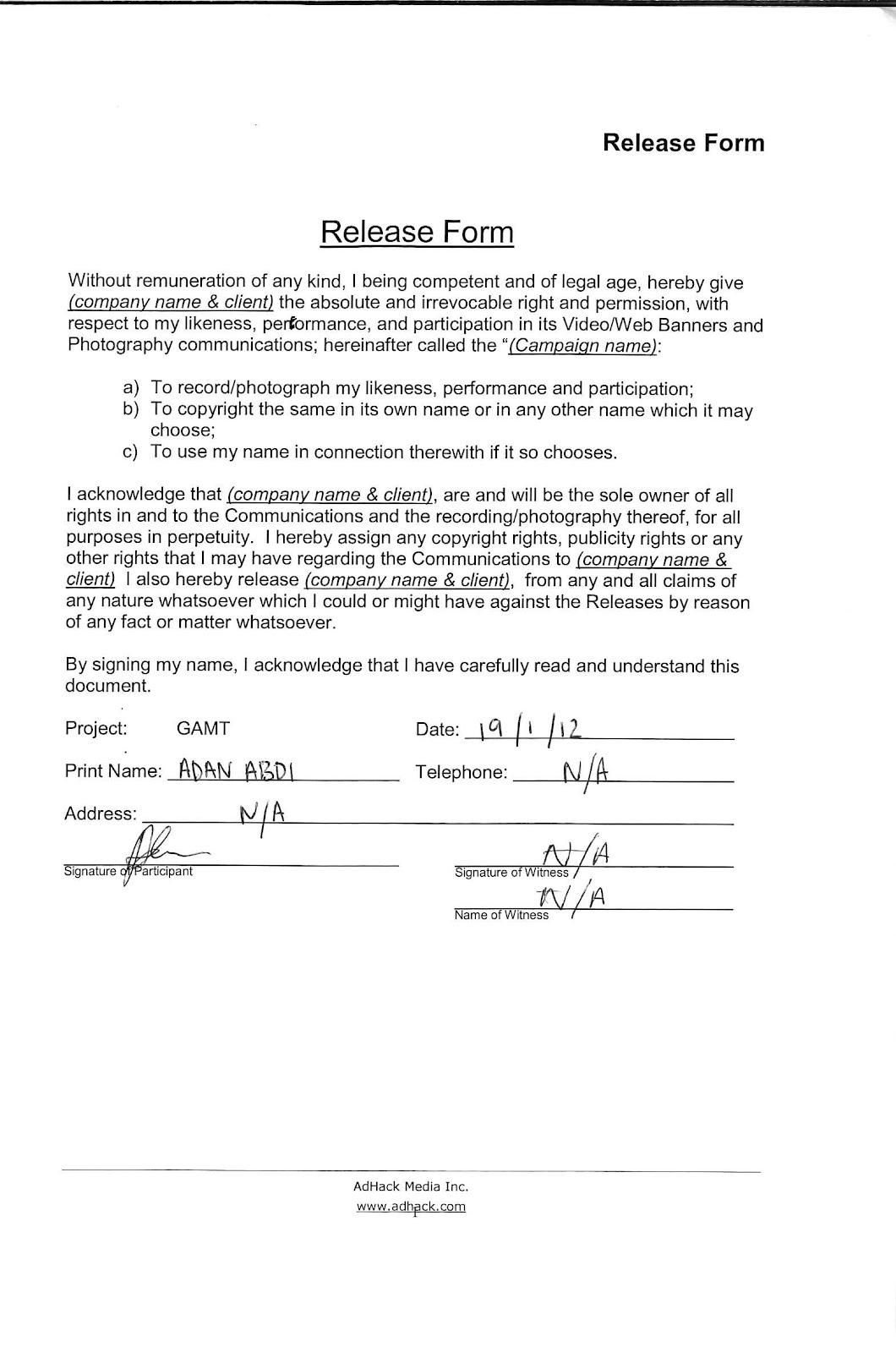 Actor Release Form | Group Work Coursework Media Adan Tom Gabby Melique Adan Abdi