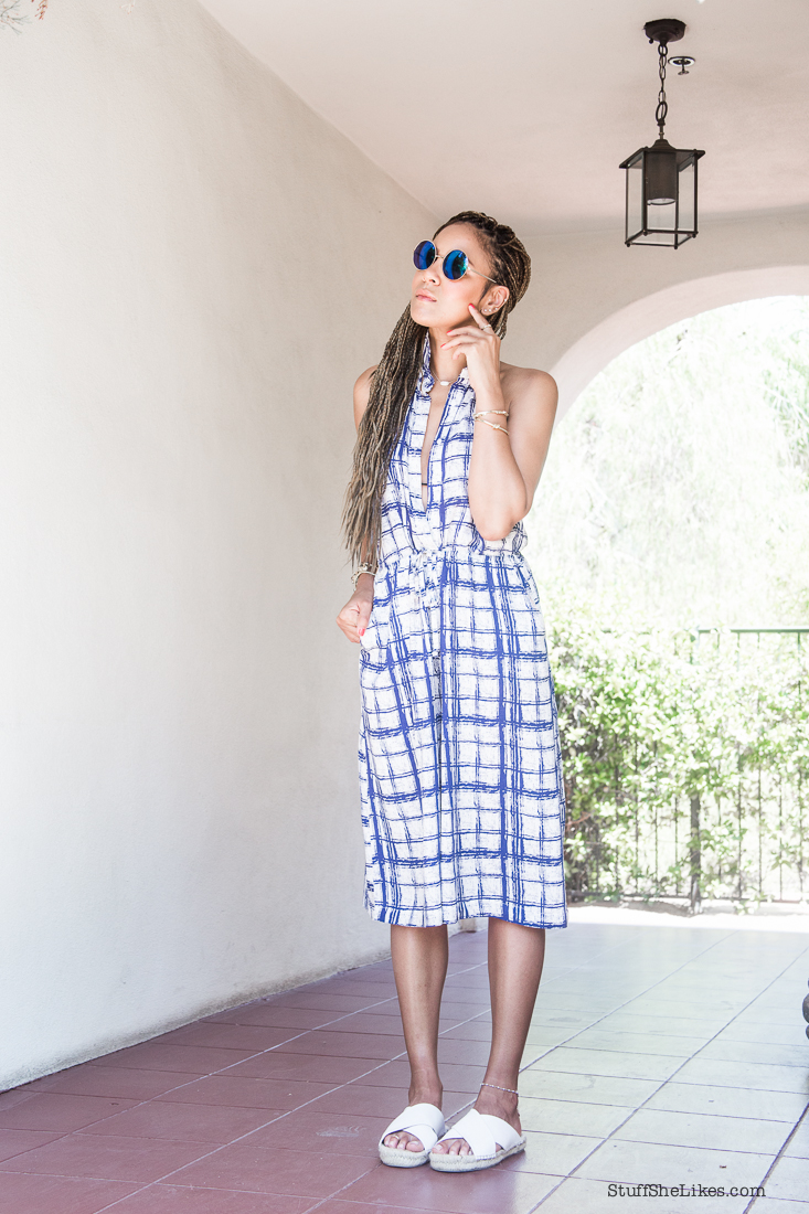 jumpsuit, romper, 4th of July, summer outfits, blogger, top blogger, top ten bloggers in Los Angeles, Braids, how to wear braids, Taye Hansberry, stuff she likes, Fashion blogger