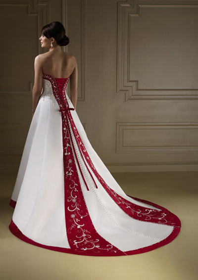 White with red wedding dresses in mosaic view wedding for Red and white wedding dresses 2012