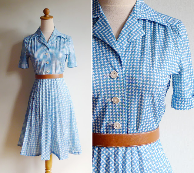 vintage houndstooth print dress