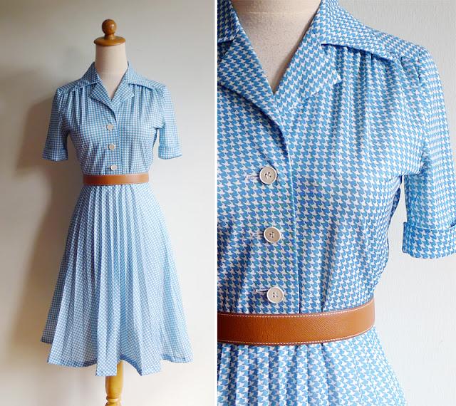 vintage houndstooth print dress