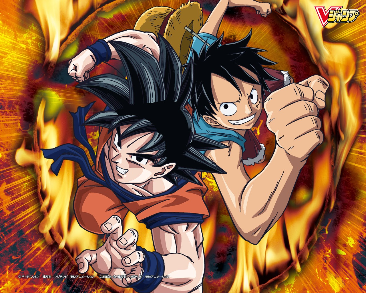 goku and luffy one piece wallpaper free for pc wallpaper ~ hd wallpapers