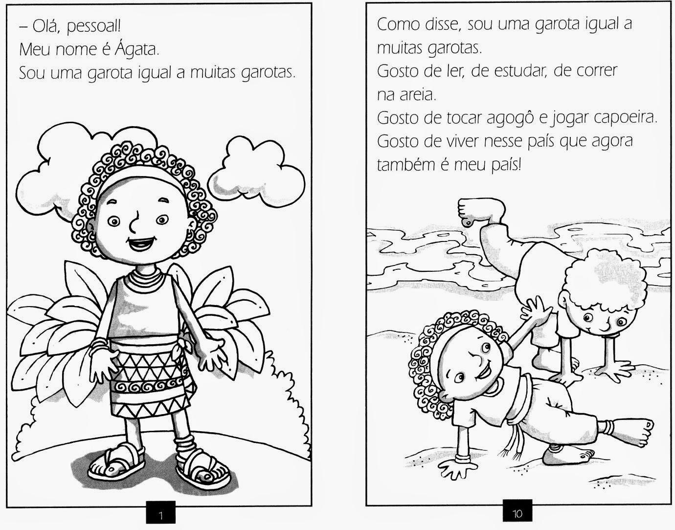 PÁGINAS PARA COLORIR - MENINA DE ANGOLA