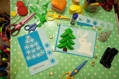 Делаем открытки с детьми на новый год.