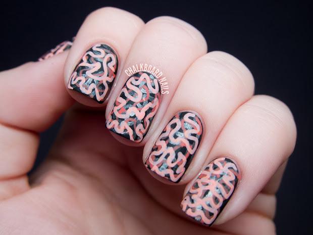 matte brain graffiti nail art