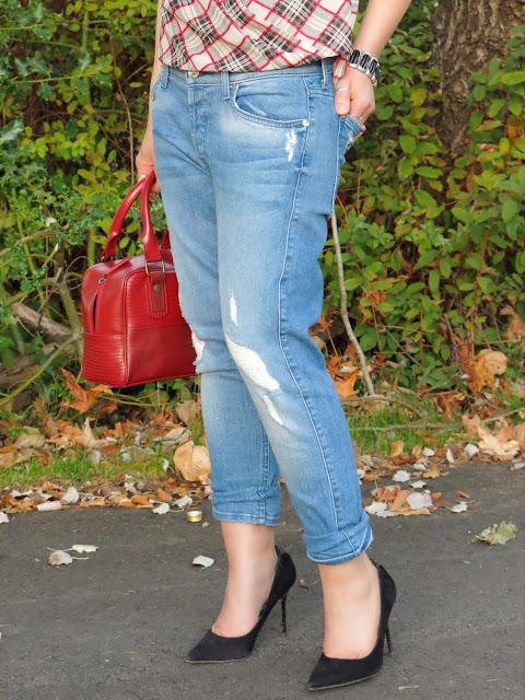 boyfriend jeans, plaid blouse, Sam Edelman pumps, and Elvis & Kresse bag