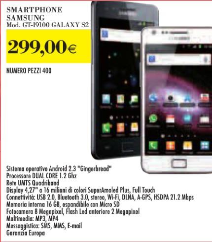 Altra interessante offerta sul ex smartphone top di gamma di Samsung, ovvero il Galaxy S 2 venduto sottocosto a 299 euro.