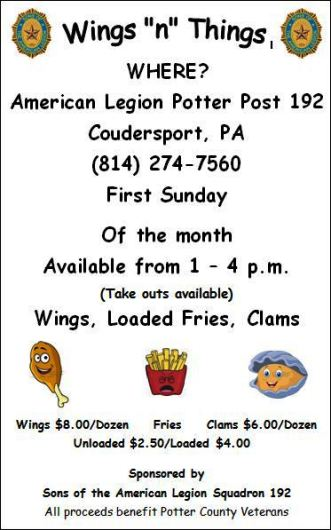 3-5 Wings 'n' Things, Coudy American  Legion