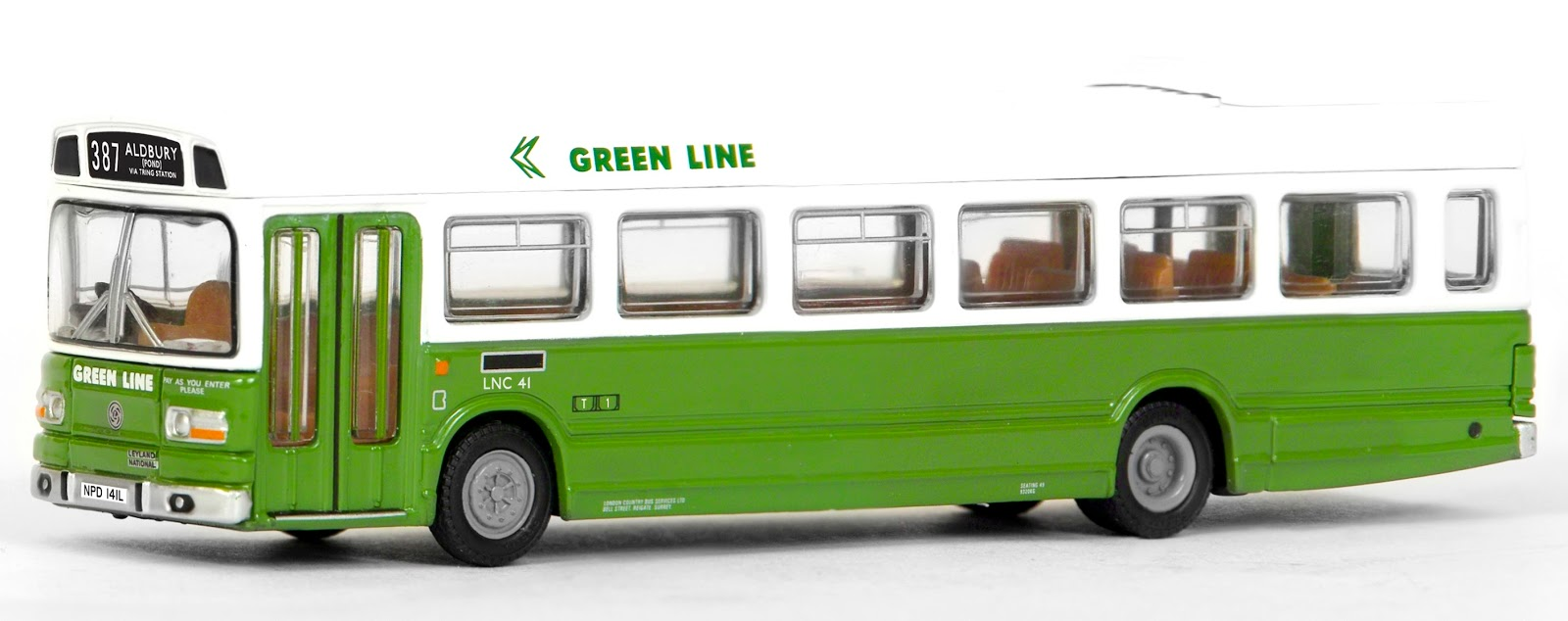 EFE 17311 - Leyland National MkI Long 1 Door - Green Line NBC  The Leyland National is a very popular model with our collectors and this Green Line N.B.C. version is sure to please. Registered NPD 141L, fleet number LNC 41 works route 387 to Aldbury a lovely little Village not far from the vehicles base at Tring Garage. RRP £32.50