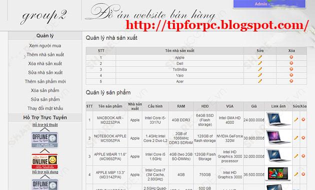 Source Code website shop bán hàng laptop bằng PHP