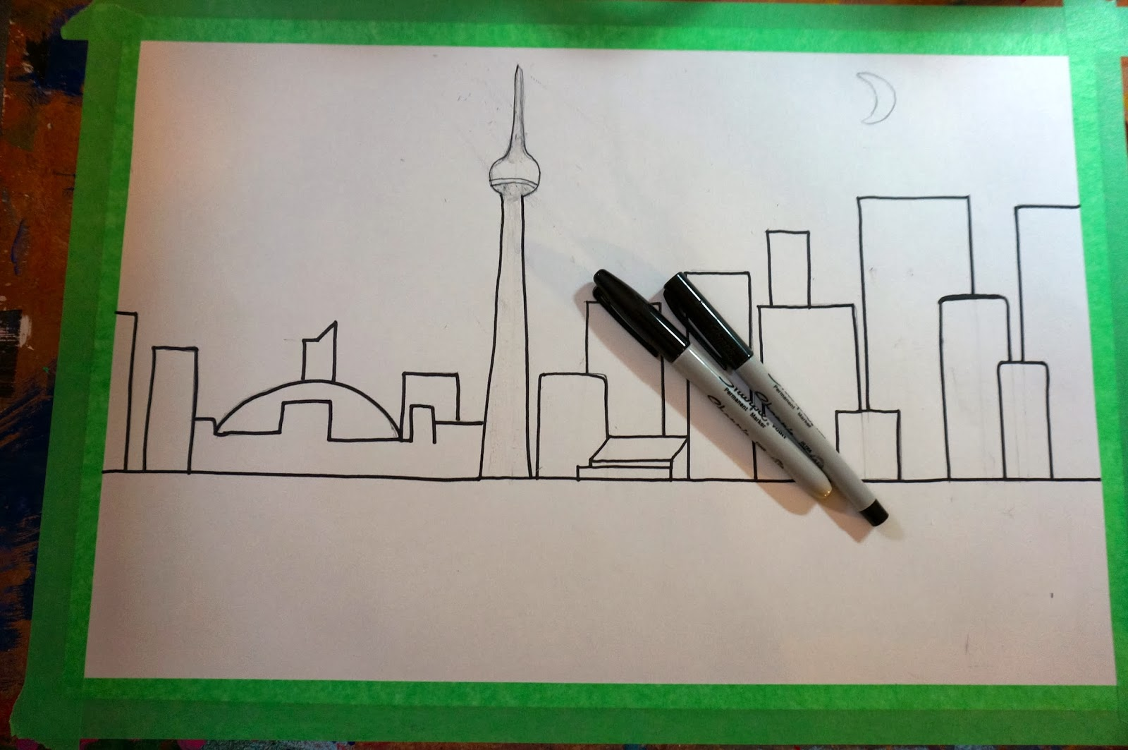 Cityscape Line Drawings Draw a Horizon Line in The