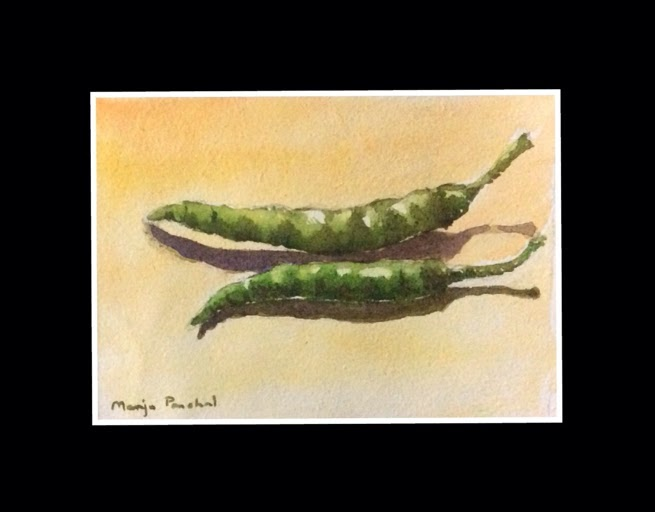 Water colour painting of two green chillies by Manju Panchal
