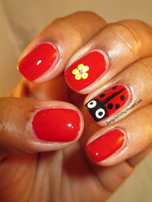 red, ladybug, drunk ladybug, Sinful Colors Ruby Ruby, husband painted, nails, nail art, nail design, mani