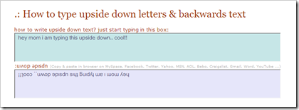 How to write letters upside down on twitter