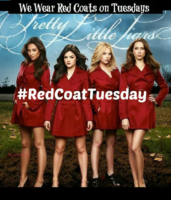 Pretty Little Liars, #RedCoatTuesday, blogger linkup, The Body Shop Born Lippy Pomegranate Lip Balm, lips, makeup