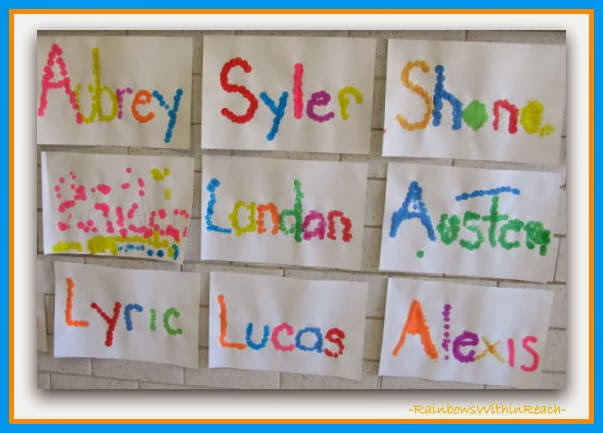 Names spelled out with Dot-Paint