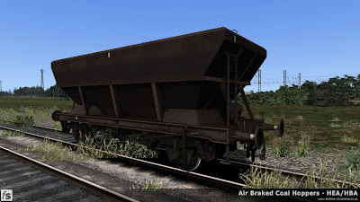 Fastline Simulation - HBA/HEA Coal Hoppers: A weathered HBA hopper that's seen some heavy use and must soon be due its trip to works for respringing.