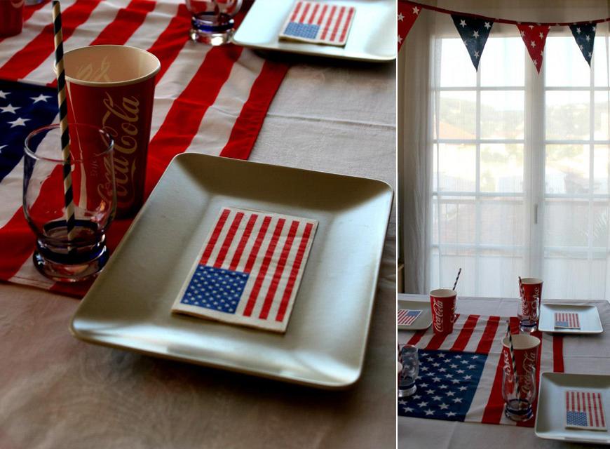 assiettes et serviettes décoration drapeau amérique