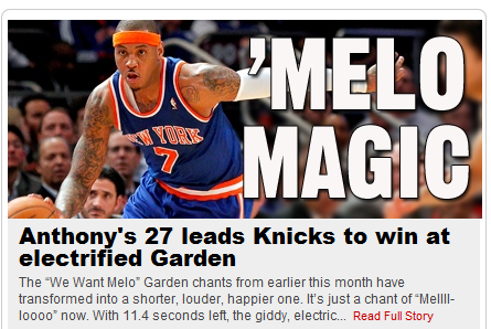 Carmelo Anthony Knicks. carmelo anthony on knicks.