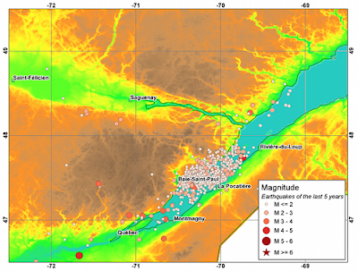 The locus of earthquakes in the Charlevoix seismic zone