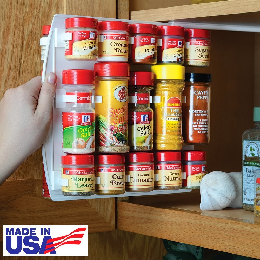 Tips and tricks to keep your rv camper tidy and organized for Carousel spice racks for kitchen cabinets