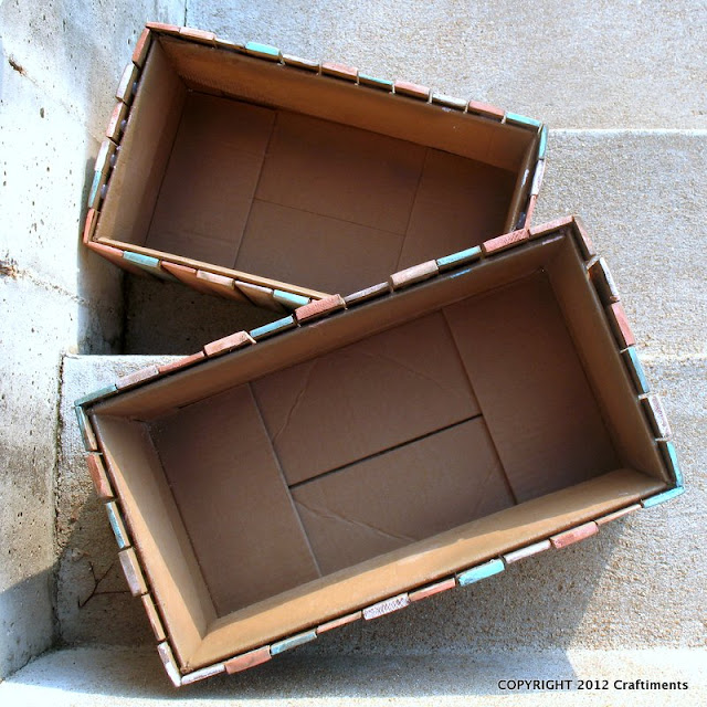 "Craftiments.com: ""Wood crate"" made from a cardboard box and wood shims"
