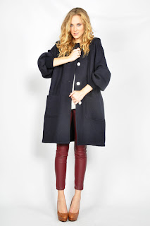 Vintage 1980's navy blue wool Valentino trapeze coat with button front closure.