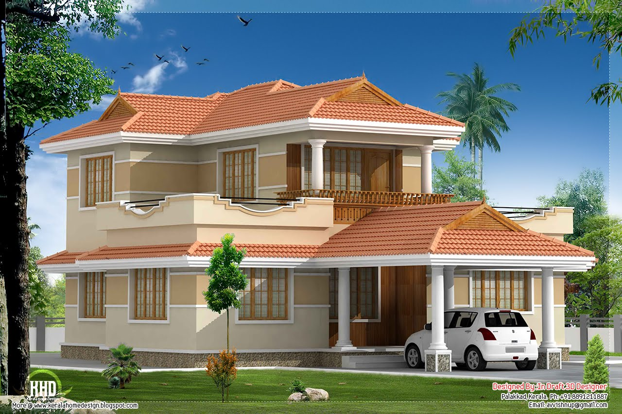 4 bedroom kerala model villa elevation design style 3d model house design