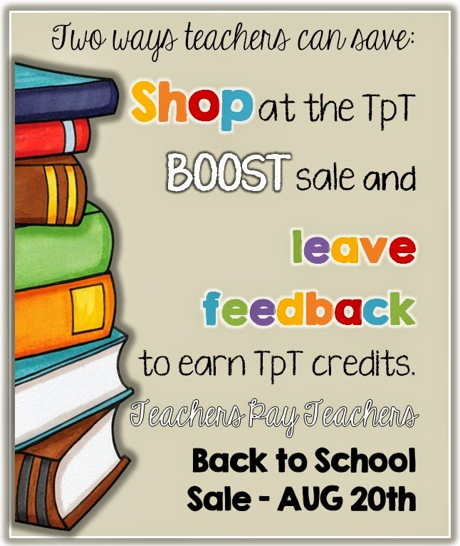 TpT Back to School Sale use CODE: BOOST and leave feedback to save