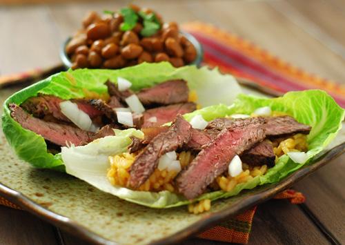 Carne Asada Lettuce Wraps, Tex-Mex