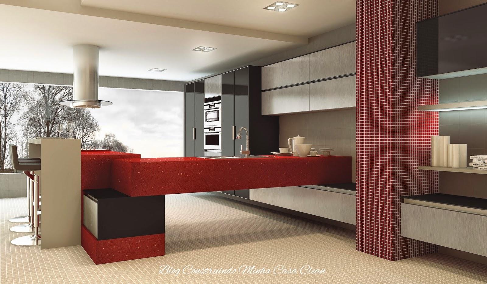 Construindo Minha Casa Clean Cozinhas Modernas Com Cinza  -> Decoracao De Sala Pequena Vermelha E Amarela