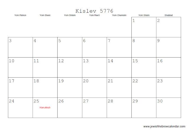 Kislev 5776 calendar, Hebrew Calendar Kislev 5776, Jewish Calendar 5776, Hebrew calendar 5776, Jewish calendar 5776 with Jewish equivalents