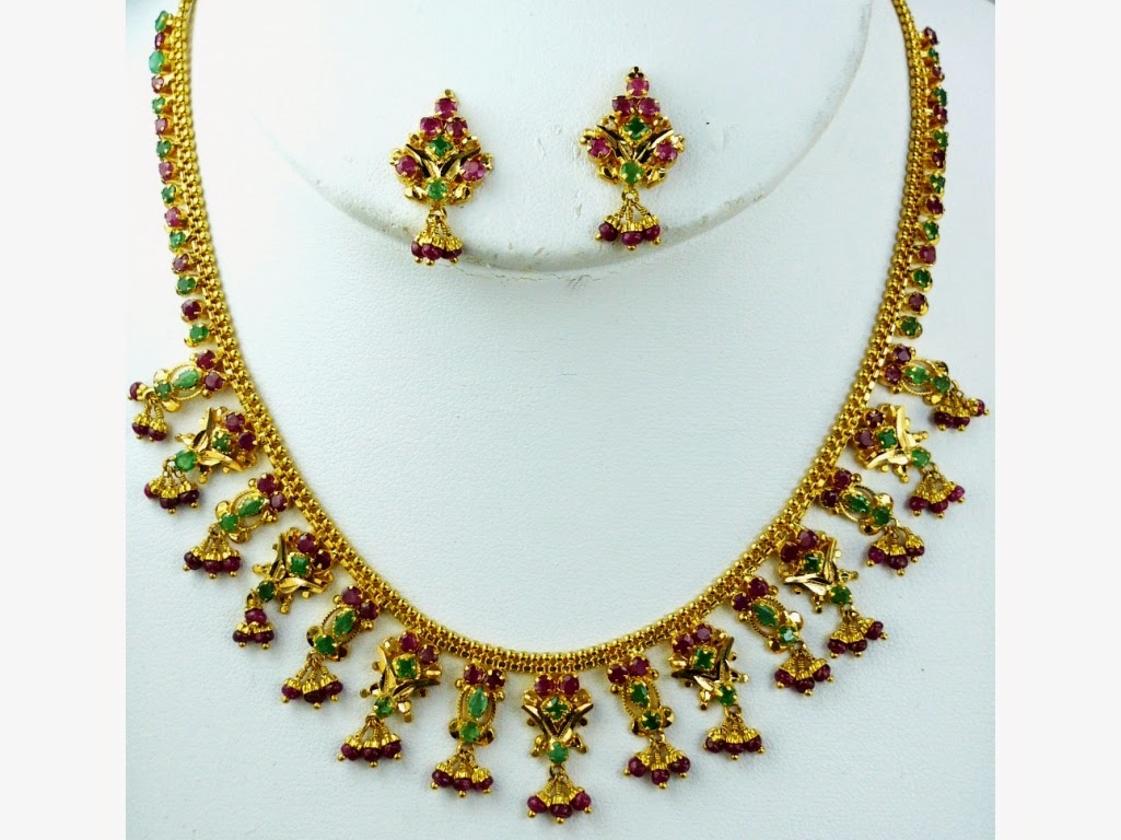 Jewellery Designs : Latest Simple Gold Jewellery Necklace Set with ...
