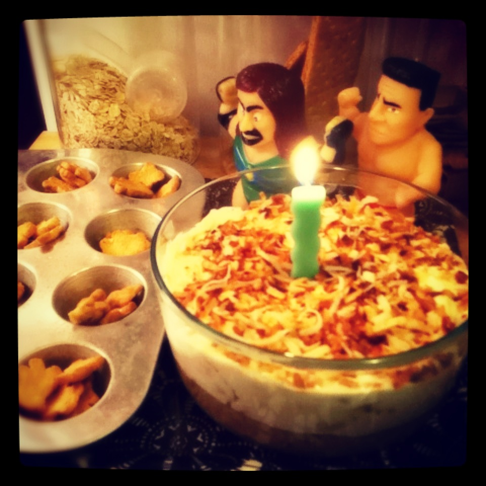 toasted coconut cheesecake dip recipe, birthday treat ideas, wrestler decorations