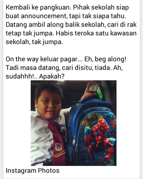 Misteri kehilangan beg sekolah selesai!