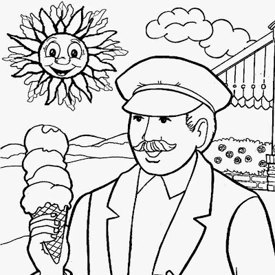 Lazy leisure eating ice cream beneath the sun simple play school color pages to print coloring book