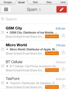 Gmail мобильная версия