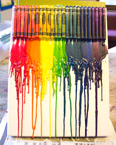 Craft knife tutorial melted crayon canvas art for Crayon diy canvas