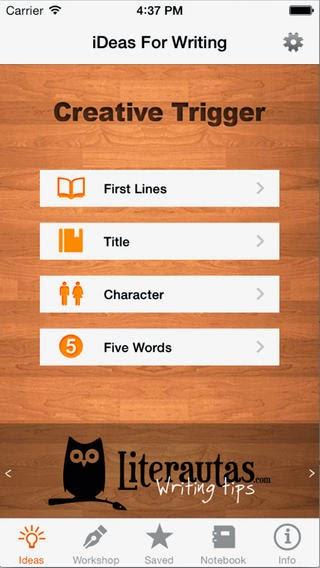 De bedste apps til forfattere. iDeas for Writing. Skriveinspiration på din iPhone