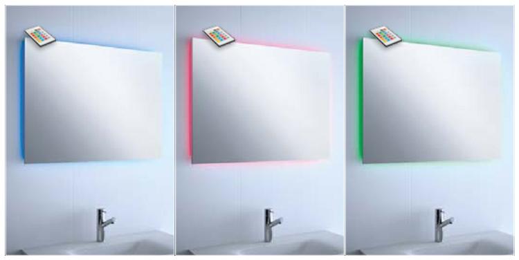 Espejo con luz led ambiental de colores reformas guaita for Espejos para banos con luz incorporada