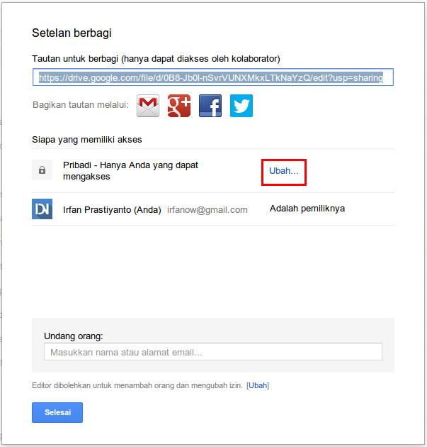 kotak dialog tautan file google drive