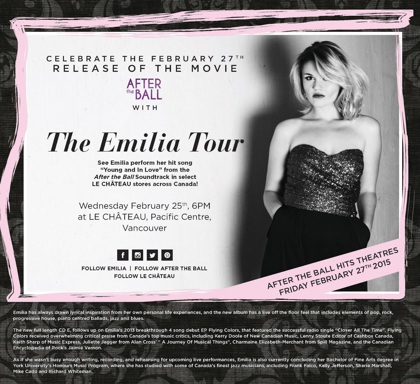 The Emilia Tour Le Chateau event Vancouver