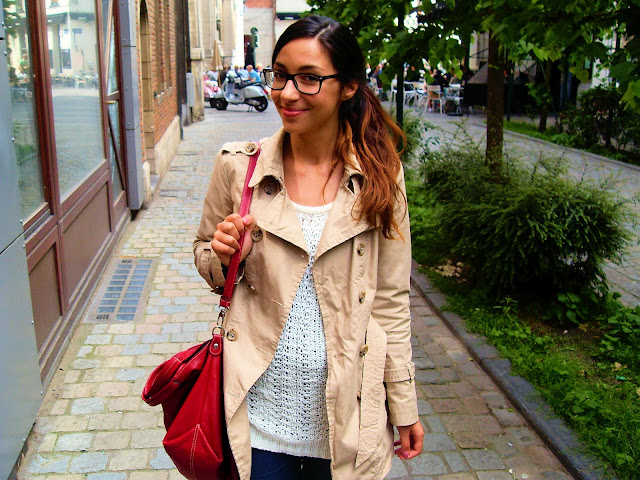 giulesss, trench benetton, chunky knitwear, rayban havana, ombre hair