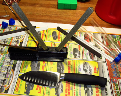 Diamond sharpening rods and santoku  knife