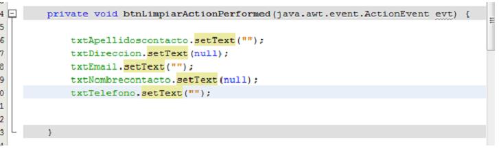 Código empleado para borrar el contenido de los JTextField del formulario