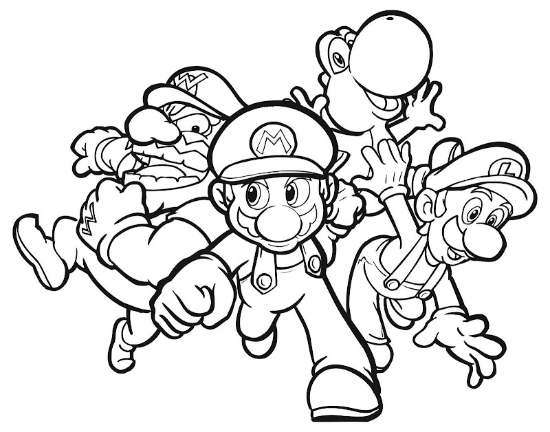 Free Mario Bros Coloring Pages for Kids title=
